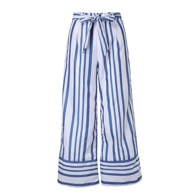 Feitong Women Pants Casual Striped Printed Wide Leg Pants Casual Waistband High Waist Pants Loose Female Trousers Ladies Pants