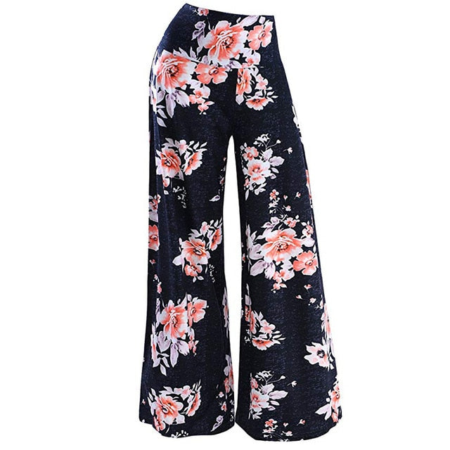 Feitong Women Pants's Daily Casual Loose Print Stretchy Wide Leg Palazzo Lounge Long Ladies Pants Female Trousers Pantalons