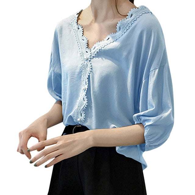Summer Blouse Women Causal Solid Color Loose V-Neck Short Sleeve Chiffon Womens Tops and Blouses Shirt Blusas Mujer De Moda 2019