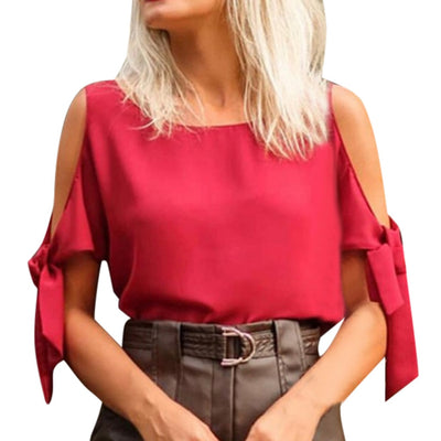Summer Blouse Women Tops Solid Color O Neck Blouse Casual Cold Off Shoulder Top Shirt Bluzki Damskie Blusas Mujer De Moda 2019