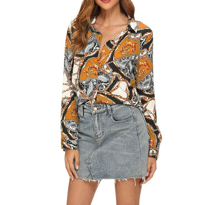 Women Turn Down Collar Long Sleeve Single-breasted Print Casual Kimono Top Womens Tops and Blouses Blusas Mujer de Moda 2019