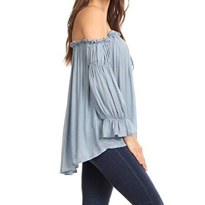 Fashion Women Blouse Women Long Sleeve Strappy Cold Shoulder Solid Shirt Tops Blouses Shirt Autumn Chiffon Loose Blusas