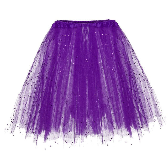 Feitong Women Skirts Paillette Elastic 3 Layered Short Skirt Adult Tutu Dancing Skirt Party Casual Skirts Femme Faldas Mujer