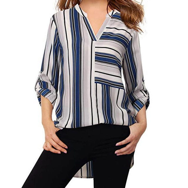 Fashion Women's Stripe Shirt Autumn Blouse Long Sleeve Blouse V-Neck Casual Shirt Blusas Feminino Ladies Blouses Female Tops