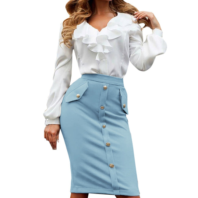 Feitong Women Skirts Fashion High Waisted Pencil Club Skirt Slim Bodycon Button Pocket Skirt Summer Jupe Femme Women Clothing