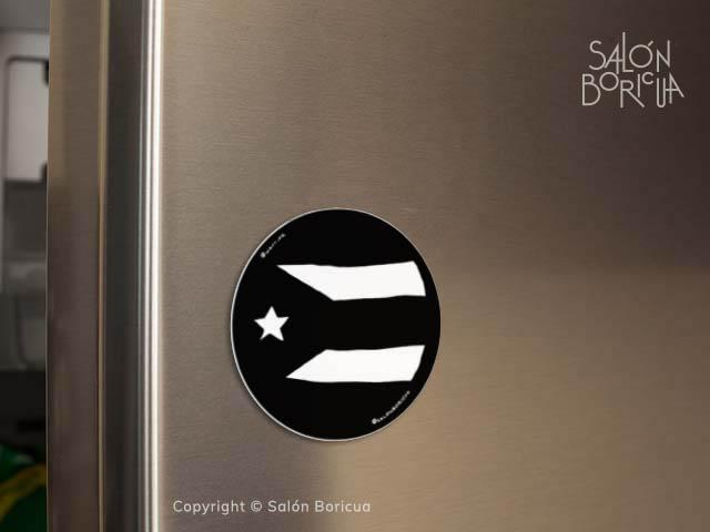 Imán: Bandera: PR Rounded - Black (Magnet)