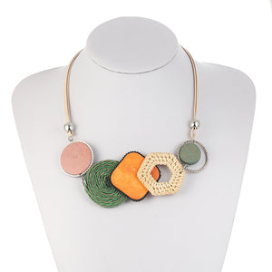 Bamboo Weaving Statement Necklace