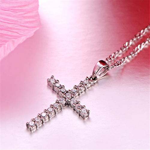 Shiny Cross Rhinestone Pendant Necklace