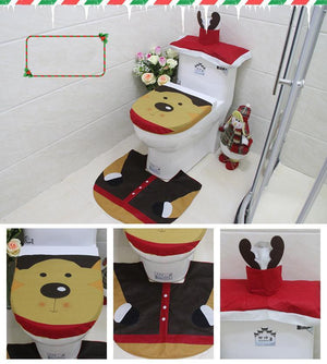 3 in 1 Christmas decorations Happy Santa toilet lid