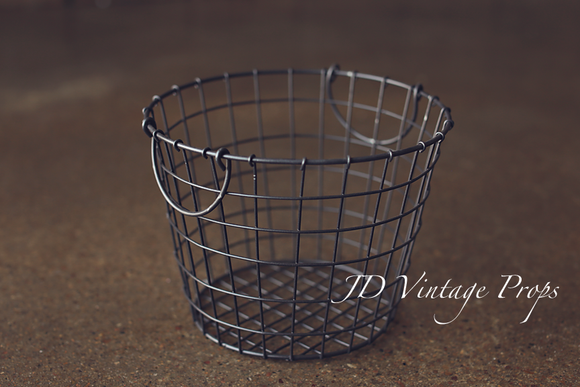 Grey Round Wire Basket