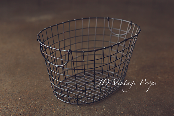 Grey Oval Wire Basket
