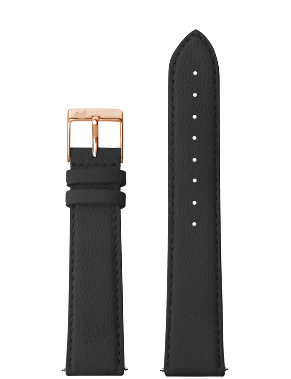 18mm Grainy Black Leather Strap with Rose Gold Buckle