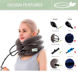 Lumia Wellness Posture Revival Kit | Inflatable & Adjustable Cervical Neck Traction Device + Posture Corrector Bundle
