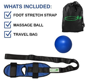 Lumia Wellness Foot Stretcher and Massage Ball Bundle - Carry Bag Included