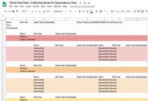 collect posterity names using excel