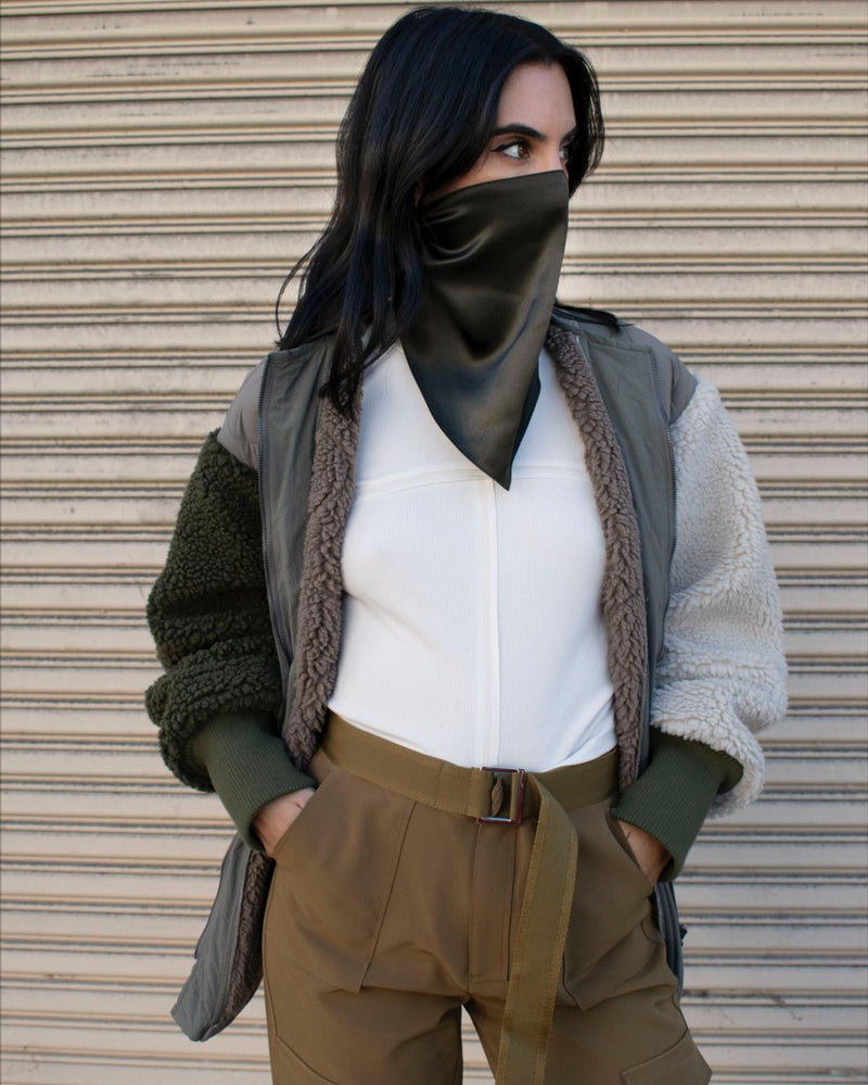 Silk Face Scarf - Forest Green - face mask - ShopStyleguise