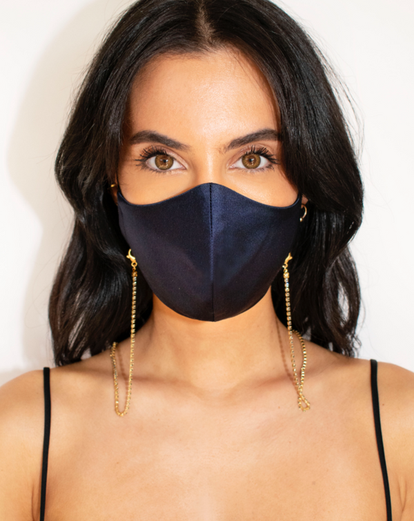 Silk Mask - Navy Blue - face mask - ShopStyleguise