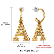 Load image into Gallery viewer, GoldChic Initial Earrings Dangle, Girls/Women Lightweight Embossed Name Alphabet Letter Hoop Drop Earrings from A-Z Hypoallergenic for Sensitive Ears,with Gift Box