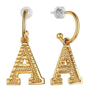 GoldChic Initial Earrings Dangle, Girls/Women Lightweight Embossed Name Alphabet Letter Hoop Drop Earrings from A-Z Hypoallergenic for Sensitive Ears,with Gift Box