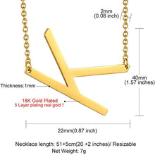 Load image into Gallery viewer, 18K Gold Plated Jewelry Initial Necklace,Sideways Large Letter Necklace
