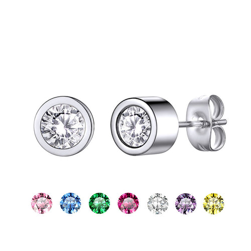 Stainless Steel Birthstone Stud Earrings For Men and Women