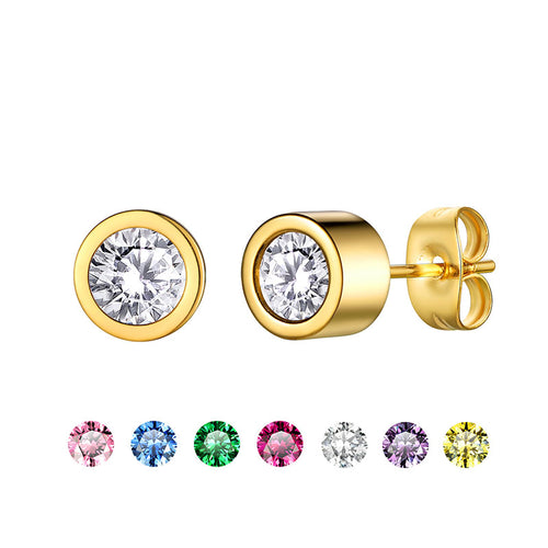 Interchangeable Earrings with  7pcs Bezel-set Colored Brithstones Stud Earrings