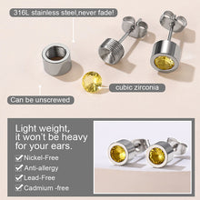 Load image into Gallery viewer, Stainless Steel Birthstone Stud Earrings For Men and Women