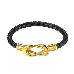 Black Infinity Magnetic Knot Clasp Leather Bracelet