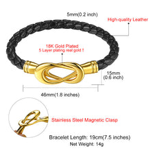 Load image into Gallery viewer, Black Infinity Magnetic Knot Clasp Leather Bracelet