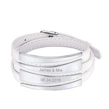 Load image into Gallery viewer, Personalized Adjustable Triple Wrap Leather Bracelet