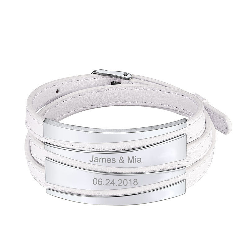 Personalized Adjustable Triple Wrap Leather Bracelet