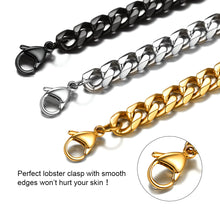 Load image into Gallery viewer, GoldChic Jewelry Miami Cuban Chain Bracelet, 3mm/6mm/9mm/12mm, 316L Stainless Steel Flat Curb Link for Men, Hip Hop Chunky Jewelry 21CM