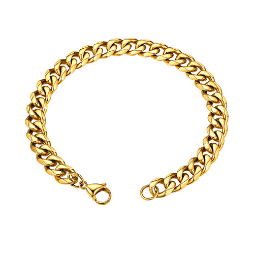 GoldChic Miami Cuban Chain Bracelet, 3mm/6mm/9mm/12mm, 316L Stainless Steel Flat Curb Link for Men, Hip Hop Chunky Jewelry 21CM