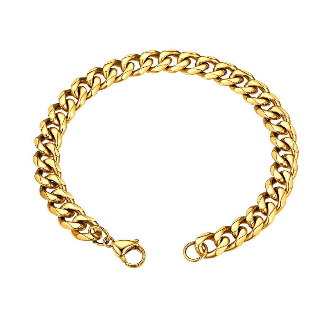 GoldChic Jewelry Miami Cuban Chain Bracelet, 3mm/6mm/9mm/12mm, 316L Stainless Steel Flat Curb Link for Men, Hip Hop Chunky Jewelry 21CM