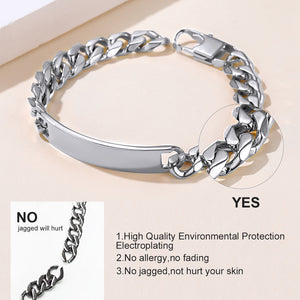 GoldChic Personalized Mens ID Bracelets,Stainless Steel Mens Bracelets, 10mm Wide Curb Link ID Bracelet (Length 19cm to 21cm)-Offer Custom Service