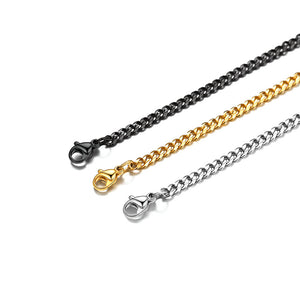 3mm Gold Curb Men Flat Cuban Link Chain Necklace