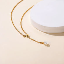 Load image into Gallery viewer, Gold Long Lariat Necklace, Bar Pearl Y Necklace Chain for Women
