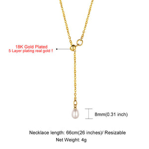 Gold Long Lariat Necklace, Bar Pearl Y Necklace Chain for Women