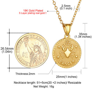Zodiac Sign 12 Constellation 18K Gold Plated Horoscope Pendant Tag Coin Necklace