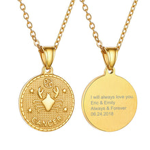 Load image into Gallery viewer, Zodiac Sign 12 Constellation 18K Gold Plated Horoscope Pendant Tag Coin Necklace