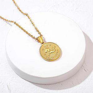 Zodiac Sign 12 Constellation Coin Necklace, 18K Gold Plated Horoscope Pendant Tag Necklace