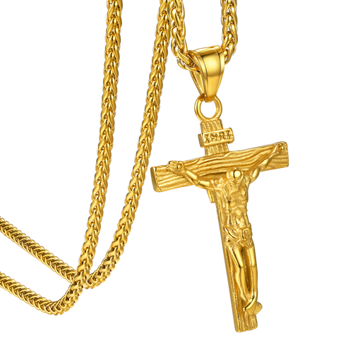 Stainless Steel/18K Gold/Rose Gold Christian Jewelry Crucifix Necklace