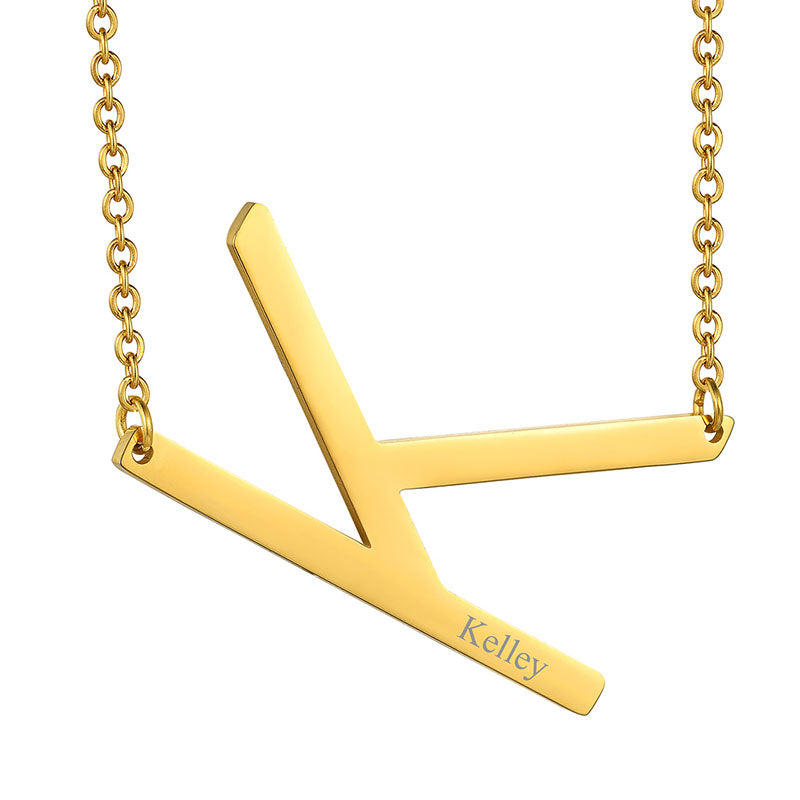 18K Gold Plated Jewelry Initial Necklace,Sideways Large Letter Necklace