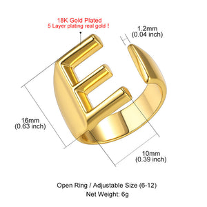 GoldChic A to Z Initial Open Ring, 18K Gold Plated Captial Letter Adjustable Open Ring, Alphabet Jewerly for Women with Gift Box