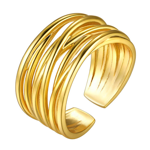 Crossover Open Ring Women Men Gold Statement Ring Engagement Ring Wrap Ring