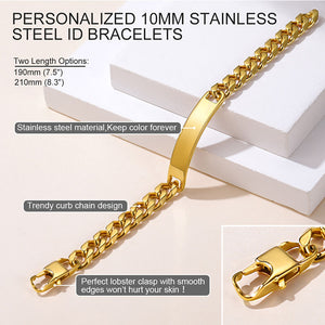 GoldChic Jewelry Personalized Mens ID Bracelets,Stainless Steel Mens Bracelets, 10mm Wide Curb Link ID Bracelet (Length 19cm to 21cm)-Offer Custom Service
