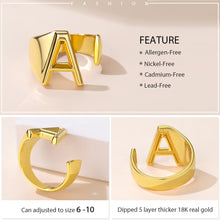 Load image into Gallery viewer, GoldChic A to Z Initial Open Ring, 18K Gold Plated Captial Letter Adjustable Open Ring, Alphabet Jewerly for Women with Gift Box