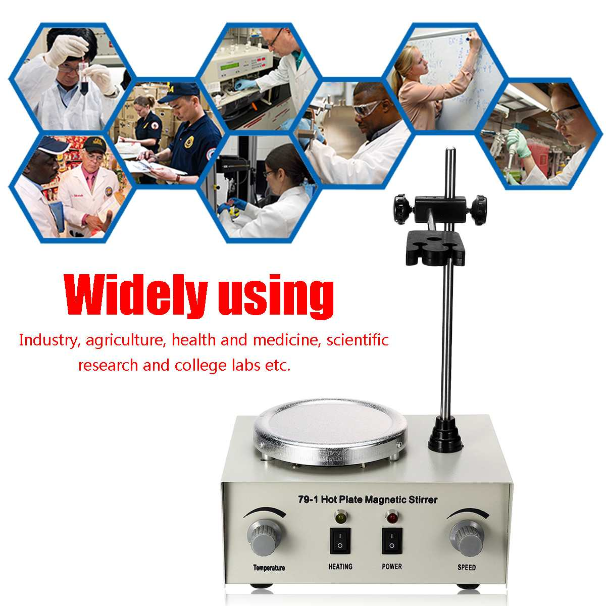 79-1 Hot Plate Magnetic Stirrer Magnetic Mixer 1000ml Lab Heating Dual Control Mixer Vibration Fuses Protection 110/220V 250W