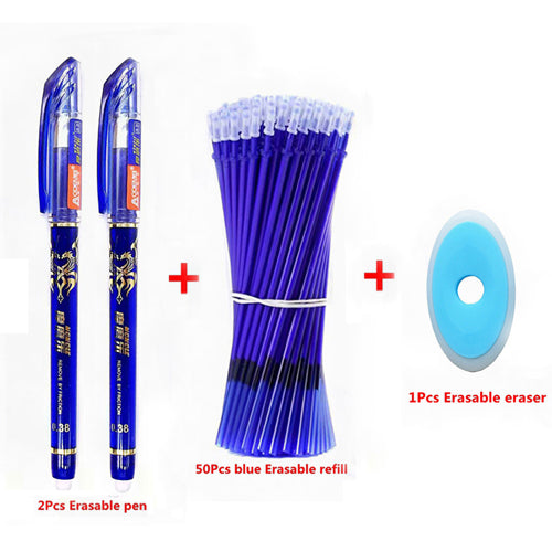 53Pcs/Lot Erasable Pen Refill Set Washable Handle 0.5mm Blue Black ink Erasable Pen Refill Rod School Office Writing Stationery