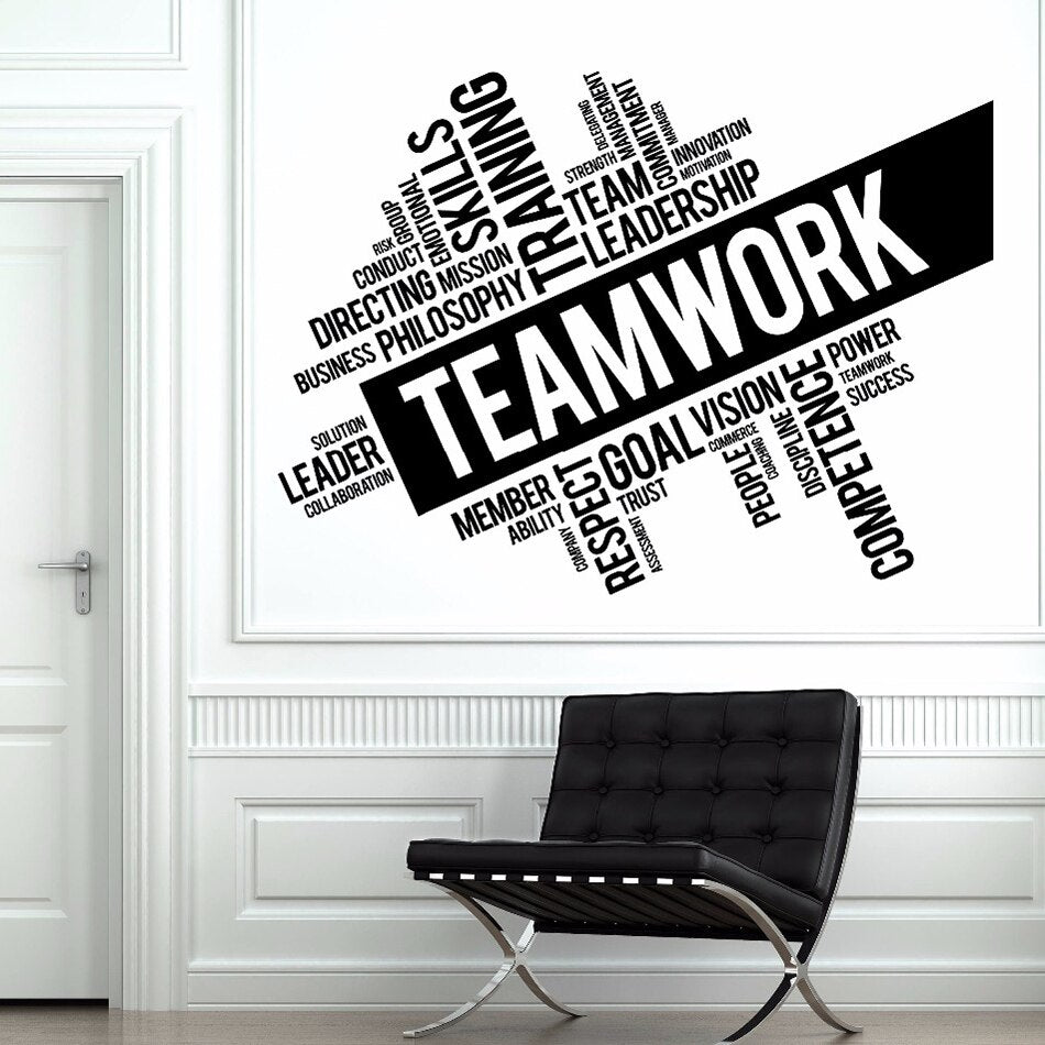 Teamwork Inspirational Words Wall Decals Cooperation Sign Vinyl Wall Sticker Office Room Décor Team Building Wall Poster AZ852